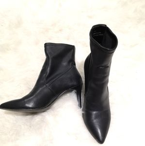Faux leather black booties